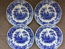 """4 SPODE STOKE ENGLAND BLUE ROOM COLLECTION GIRL AT THE WELL DINNER PLATES 10.5"""""""
