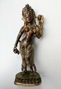 Vintage Tibetan Standing Green Mother Tara Buddhist Goddess Statue