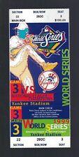 VINTAGE 1999 MLB WORLD SERIES FULL BASEBALL TICKET BRAVES @ YANKEES - GAME #3
