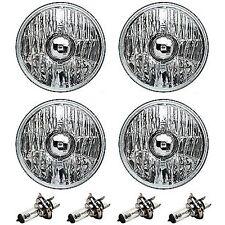 "5-3/4"" Crystal Clear Halogen Headlight Metal Headlamp H4 55/60W Light Bulbs Set"