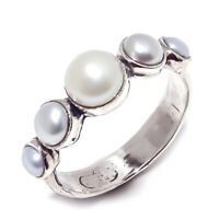Mother of Pearl Natural Gemstone Handmade 925 Sterling Silver Ring Size 8