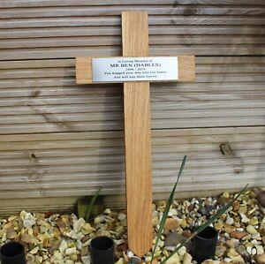 """Oak Wooden Memorial Cross 16"""" Tall - 406mm with Brass Effect Plaque - Grave Pet"""
