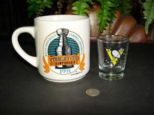 PITTSBURGH PENGUINS 1991 Wales Conference Champions MUG + bonus 1992 shot glass