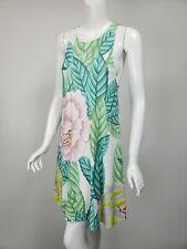 MARA HOFFMAN White Lilac Pink Green Floral Knit Jersey A-Line Dress sz XS