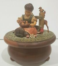 Vintage Anri Wood Carved Music Box Thorens Movement Plays-Hi Lilli Hilo-working