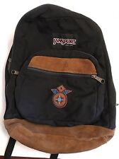 JanSport Backpack Leather Trim Daypack Suede Leather Bottom Black 90s USA!