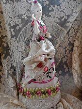 Vintage Boudoir Lamp With Delicate Porcelain Arms Away Half Doll Silk Ribbonwork