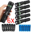 6pc Ultrafire Tactical 15000LM T6 LED Zoomable Flashlight + 18650&Charger&Holder