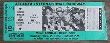Vintage 1980 Nascar 21st Annual Atlanta Dixie 500 Ticket Cale Yarborough Win