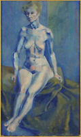 Great oil by Christian Peyrou (1929-1975)French artist,listed .Blue nude
