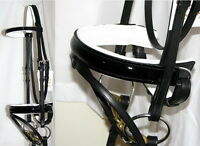 FSS Bridle PATENT Leather BLACK GLOSS Comfort WHITE Padded Poll Dressage w Reins