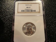 1947-S WASHINGTON SILVER QUARTER 25 CENT NGC MS67 MINT STATE GEM BRILLANT- OFFER
