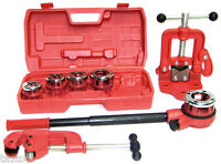 Pipe Threader Ratchet Type with 5 dies + Pipe Cutter # 2 + Clamp on Pipe Vise #2
