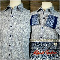 Robert Graham Mens Small L/S Button Front Flip Cuff Floral Classic Fit Shirt