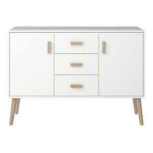 Pavona White Painted High Gloss 2 Door 3 Drawer Sideboard / Retro
