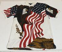 American Flag Bald Eagle Polo Shirt Mens Sz M Cotton Traders Sport