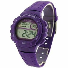 Tikkers Girls/ Ladies Digital Alarm Light Sports 50m Watch Purple Kids Gift