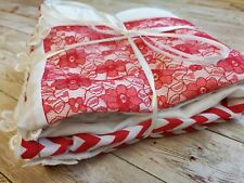 HANDMADE BABY PATCHWORK SOFT POPCORN DIMPLE BLANKET RED WHITE FLOWER LACE