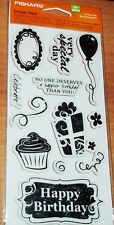 RUBBER CLING FISKARS STAMPS IT'S YOUR DAY ~ Cupcake,Balloon,Gift  wks CTMH blk