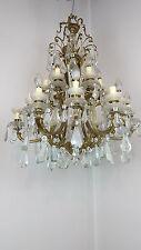 grande lampadario antico in bronzo dorato cristalli primi 1900 18 luci diam 70