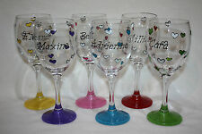 Hand Painted Personalised Small Hearts Wine Glass & painted base - FREE P&P!
