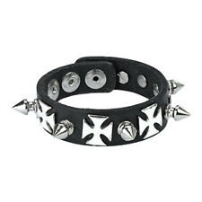 Spike Cross Wristband Vegan Leather Bracelet