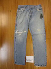used Levis 505 destroyed feathered grunge jean tag 36x32 meas 34x32 16263F