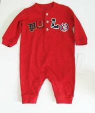 Polo Ralph Lauren Baby Boys Mesh Polo Coverall Red Sz 9M - NWT