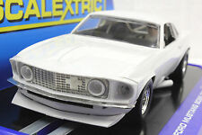 Scalextic C3579 1969 Ford Mustang Boss 302 Blanco Liso 1/32 Slot Car * Cáncer *