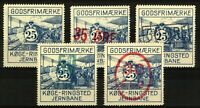Denmark Koge-Ringsted range of railway freight stamps including surcharge Stamps