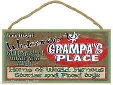 """Welcome to Grampa's Place 5x10"""" Grandfather Sign Plaque"""