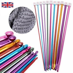 "11 Pcs 10.6"" Aluminum TUNISIAN AFGHAN Crochet Hook Knit Needles Set 2-8mm New"