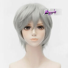 12 inches Short Gray Wavy Bangs Synthetic Party Hair Heat Resistant Anime Wig