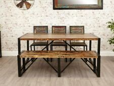 Large Industrial Dining Table Solid Reclaimed Wood Vintage Style Rustic Kitchen
