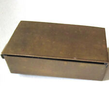 LOVELY ANTIQUE BRASS STAMP BOX HOLDS STAMPS & SPONGE HINGED BEAUTY