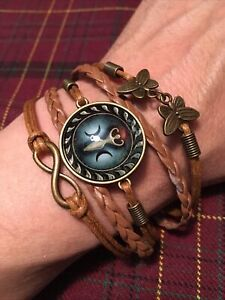 Magnet Butterfly Jewelry Women/'s Weathered LeatherDenim Butterfly Wrap Bracelet Comfortable Leather Distressed Leather Worn Leather