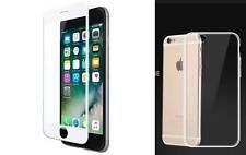 iPhone 7 8 Schutzfolie 5D Display Hartglas+Transparent Silikon Schutzhülle Case
