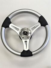 New OEM Gussi M65 Boat Steering Wheel Brushed Alum. Spoke & Silver ABS Inserts