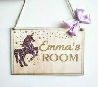 Personalised Wooden Wall Plaque Room Decor Unicorn Girl Name