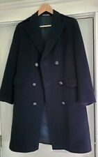 Vintage Crombie Aberdeen Scotland 100% Wool Double-Breasted Midlength Coat Navy