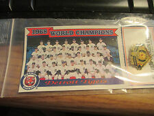 1993 DETROIT TIGERS 1968 World Series Champions Pin Card Tiger Stadium Promo