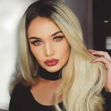 Long Curly Blonde Ombre Black Roots Wig Heat Resistant Wavy Non Lace Hair Wigs