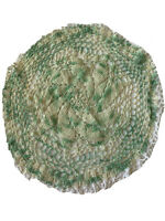 Vintage Hand Crochet Round Doily Green, Ivory And White Christmas Spring