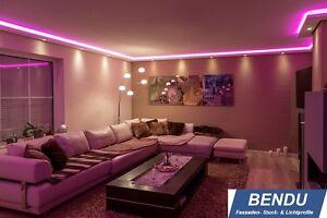 LED Stuckleisten Lichtvouten indirekte Beleuchtung Wand Decke Profile Wohnzimmer