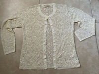 VINTAGE Womens Hand Crocheted Blouse Cardigan Sweater Ivory Button Down sz L