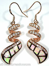 14kt Rose Gold Plated Over 925 Sterling Silver Earrings w/Pink Fire Opal Inlay