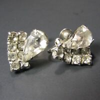 Vintage Retro Teardrop Rhinestone Screwback Earrings Set Silver Tone
