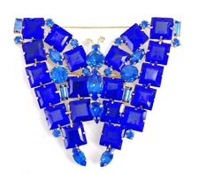 """Tone Butterfly Insect Bug Brooch Pin (W) 3"""" High End Blue Glass Gold"""
