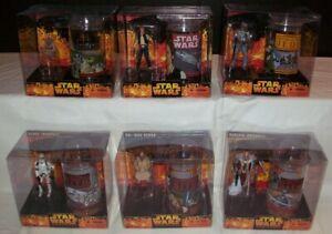 All 6 Star Wars ROTS Figure/Cup sets: Boba Fett, Yoda, Han Solo, Clone Trooper
