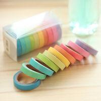 10x Writable Rolls Paper Washi Masking Tape Sticky Rainbow Colours Adhesive